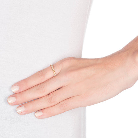 Wavy Gold Band With Diamonds on model