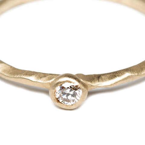 Textured Gold Stacking Ring with Diamond