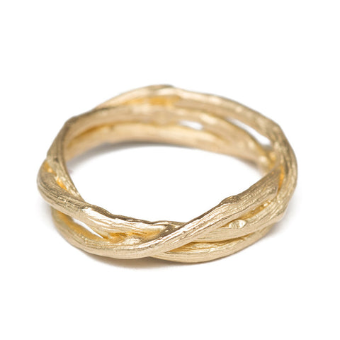 Woven Branches Gold Band