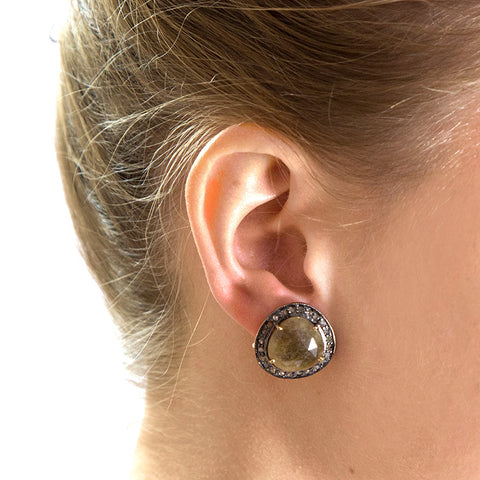 Cognac Sapphire and Champagne Diamond Studs on model