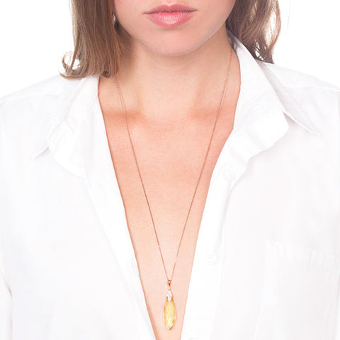Lemon Quartz Briolette Pendant on model