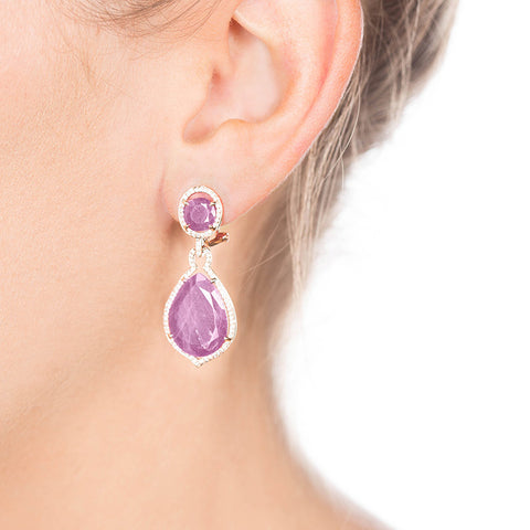 Rose Gold Ruby Earrings with Diamonds