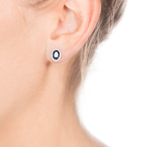 Diamond And Sapphire Studs on Person