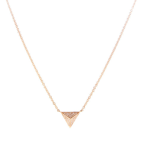 Rose Gold Diamond Pyramid Necklace