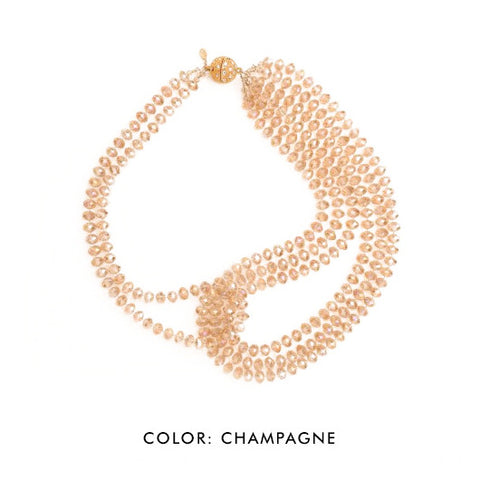 SBG Crystal Statement Necklace in champagne