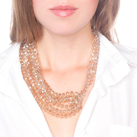 Crystal Statement Necklace on Person