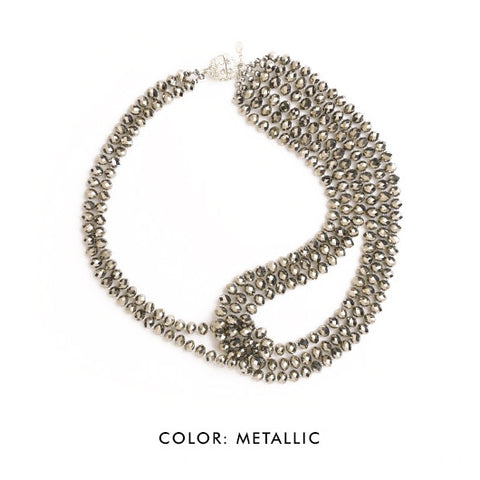 SBG Crystal Statement Necklace in metallic
