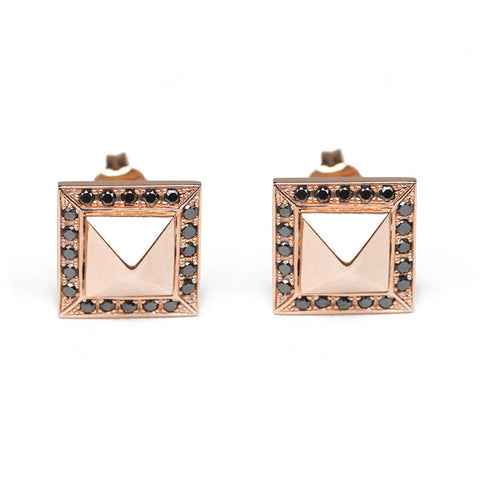 Black Diamond & Rose Gold Pyramid Studs