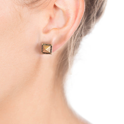 Black Diamond & Rose Gold Pyramid Studs on Person