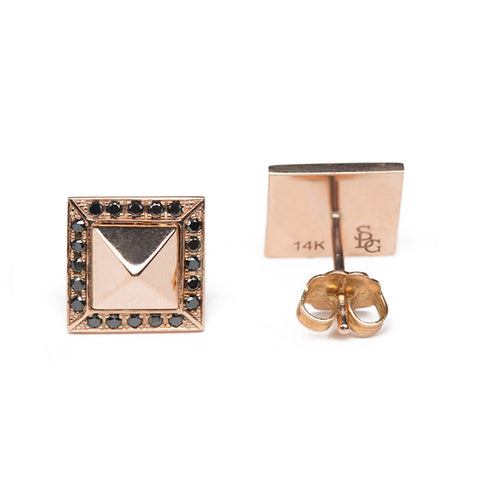 Black Diamond & Rose Gold Pyramid Studs Close Up Front and Back View