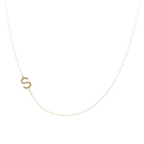 Sideways Initial Necklace -- extra letter