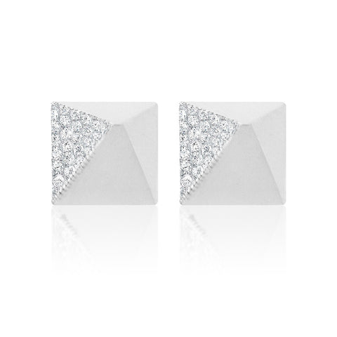 Gold One-Sided Diamond Pyramid Studs