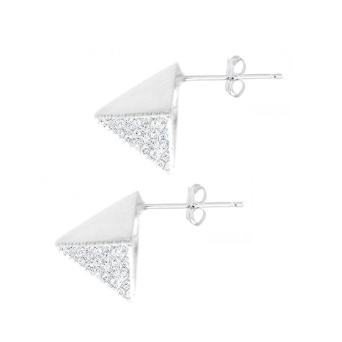 Sterling Silver Pyramid Studs with Diamonds