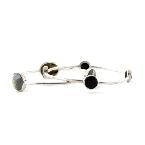 Sterling Silver Labradorite Bangle by Adornia