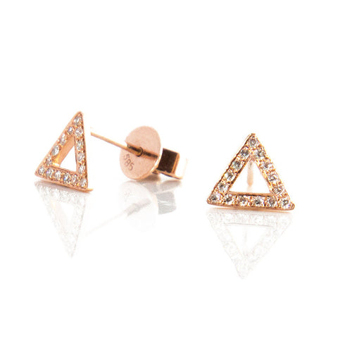 Open Triangle Diamond Studs