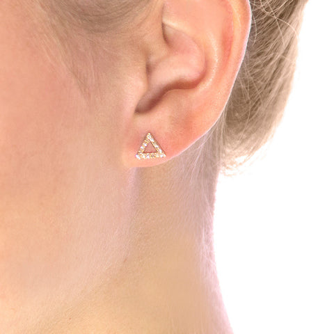 Open Triangle Diamond Studs on model