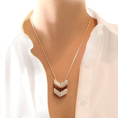 Sterling Silver Chevron Boulder Opal Necklace on model
