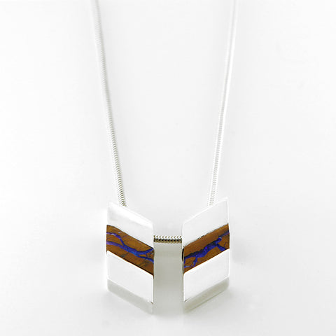 Sterling Silver Chevron Boulder Opal Necklace