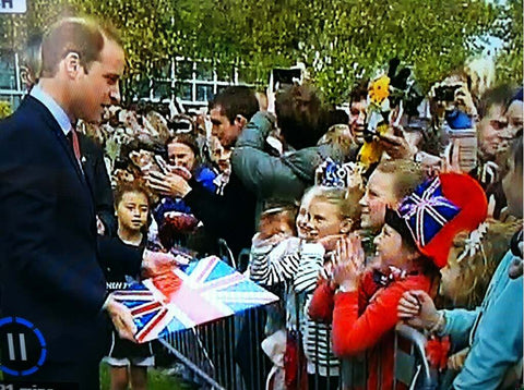 Photo of Prince William with the Union Jack Chart board