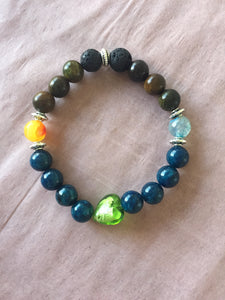 Diffuser Bracelet ~ Blue Apatite with green glass heart center
