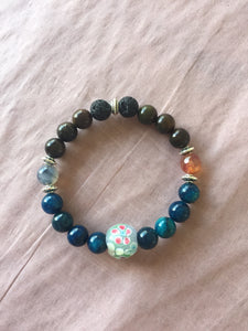 Diffuser Bracelet ~ Blue Apatite with blue glass center