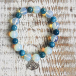 Moonstone Opal and Blue Apatite Bracelet w/Lotus charm