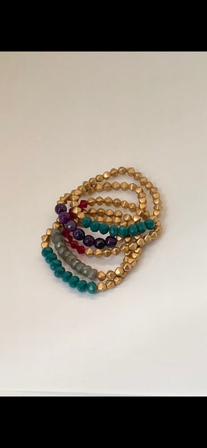 Teal & Gold Czech Glass Bracelet