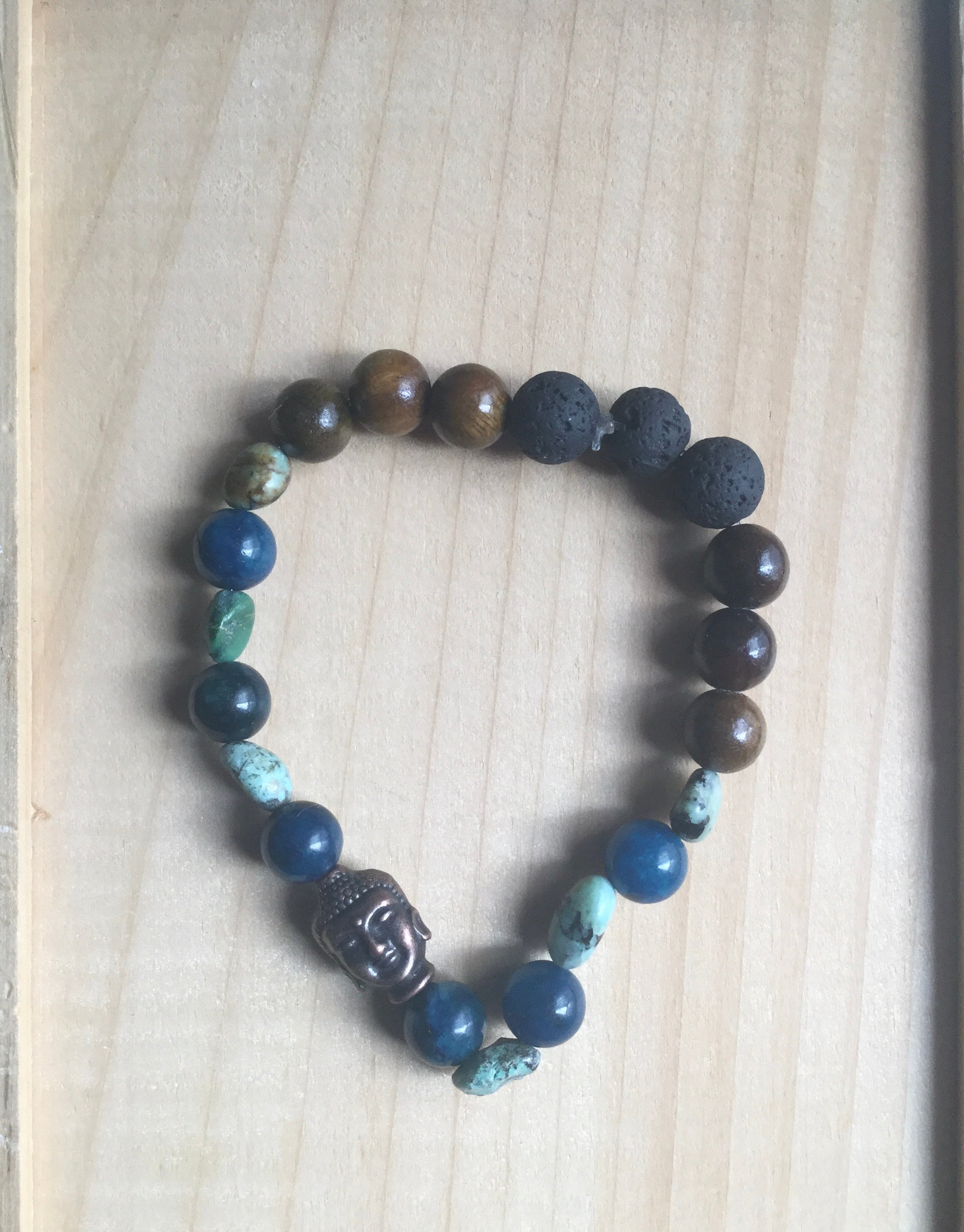 Diffuser Bracelet ~ Blue Apatite and African Turquoise with Buddha