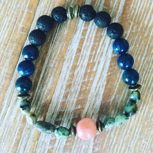 Diffuser Bracelet ~ Blue Apatite with African Turquoise and Pink center