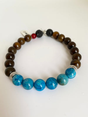 Love Tag Diffuser Bracelet with Mexican Blue Apatite