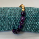 Purple Agate Stone and Czech Glass