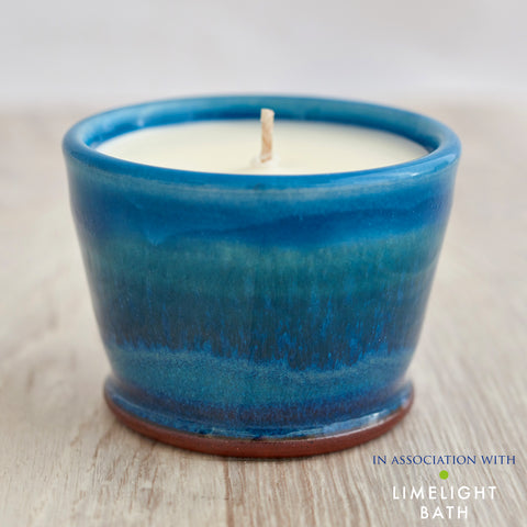 Rosemary and Bay Scented Candle - Aqua Marine