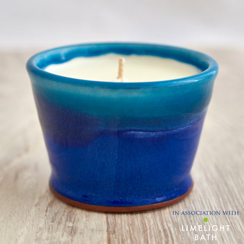 Sorrel and Lemon Thyme Scented Candle - Deep Sea Blue