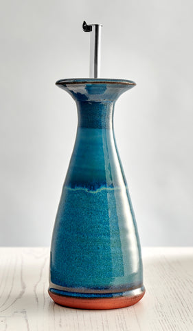 Large Olive Oil Cone Decanter - Aqua Marine