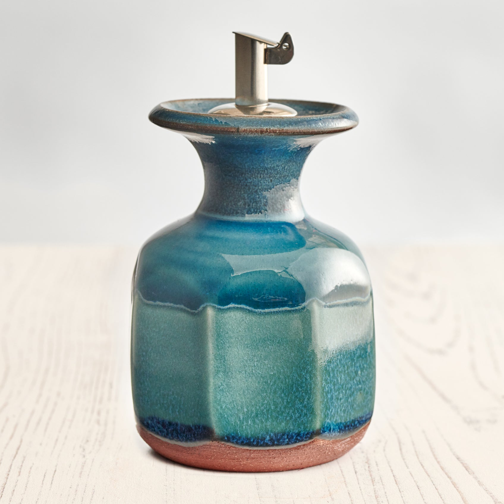 Small Olive Oil Decanter - Aqua Marine