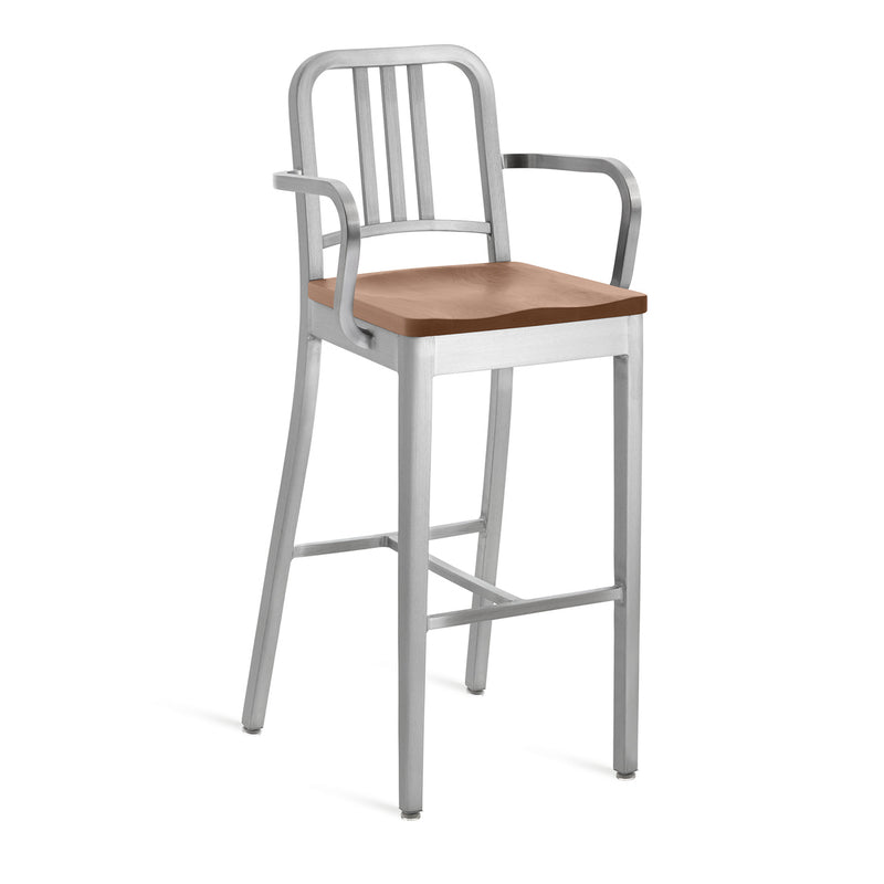 1104 Navy Stool with Natural Wood Seat