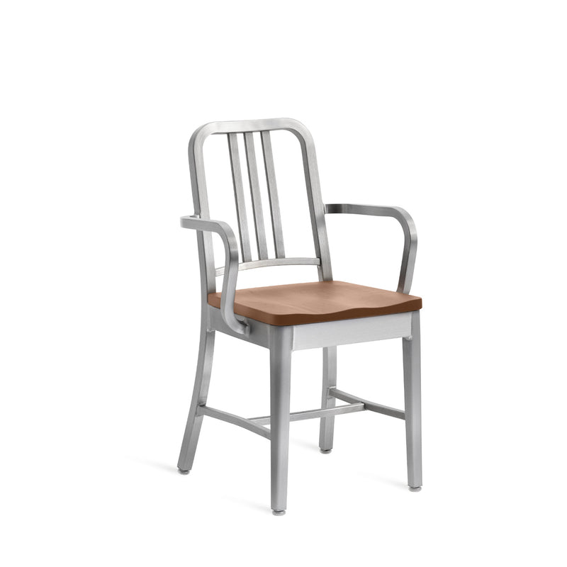 1104 Navy Chair with Natural Wood Seat