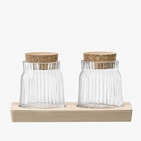Gio Line Container Set & Cork Stoppers & Beech Base