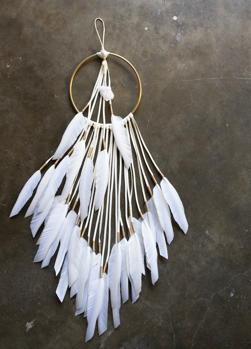 Brass & Feather Wall Hanging