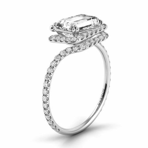 Abbraccio Swirl Engagement Ring Setting AE100-EMEW, Danhov's Ring, Emerald Cut Diamond, Engagement Ring