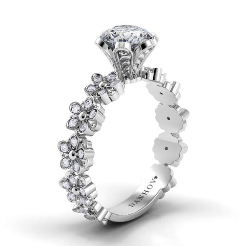 Flora Engagement Ring Setting FE104, Floral Diamond Engagement Ring, Danhov's Ring