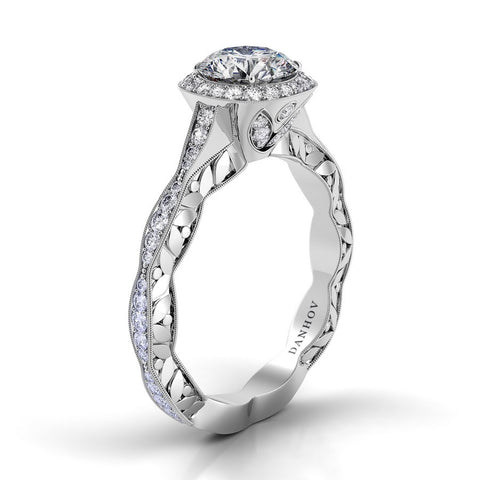 Petalo Engagement Ring Setting FE105, Floral Engagement Ring, Romantic Engagement, Halo Ring