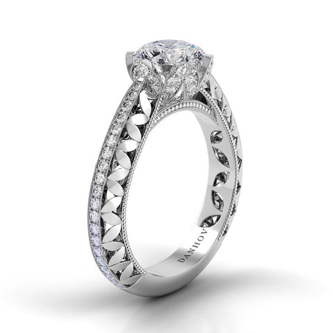 Flora Engagement Ring Setting FE108, Engagement Floral Ring, Danhov's Ring, Diamond Ring
