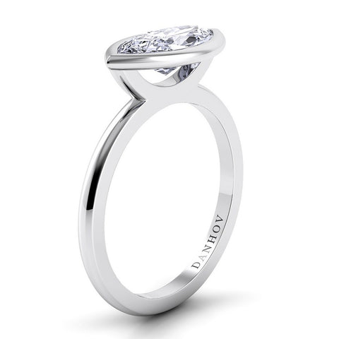 Per Lei Engagement Ring Setting LE100-MQEW, White Gold Ring, PLatinium Ring, Danhov's Ring