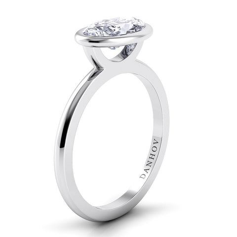 Per Lei Engagement Ring Setting LE100-OVEW, White Gold Ring, Platinium Ring, Fashion Ring