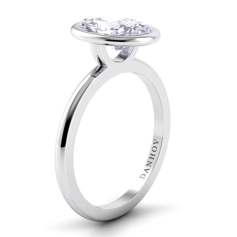 Per Lei Engagement Ring Setting LE100-OV, Engagement Ring, White Gold Ring, Danhov's Ring