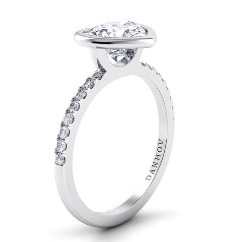 Per Lei Engagement Ring Setting LE103-HS, Romatic Engagement Ring, Heart Ring, Danhov's Ring