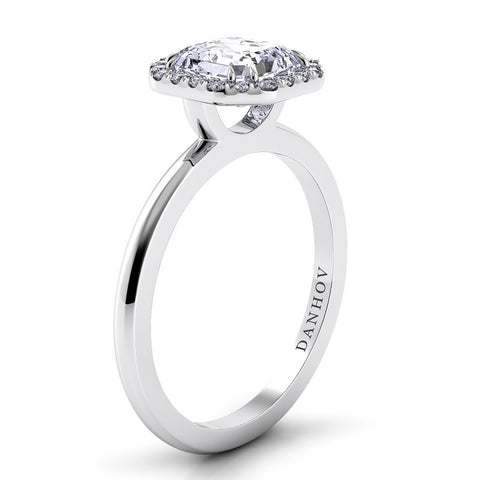 Per Lei Engagement Ring Setting LE104-AS, Asscher Diamond, Halo Ring, Danhov, Romantic Ring
