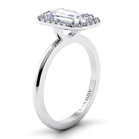Per Lei Engagement Ring Setting LE104-EM, Emerald Cut Diamond, Halo Ring, Danhov