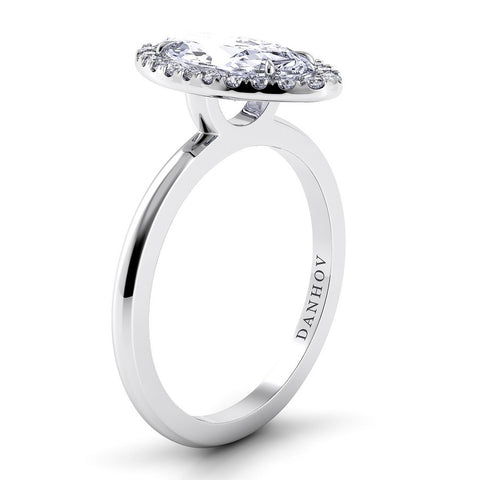 Per Lei Engagement Ring Setting LE104-MQ, Halo Ring, White Gold Ring, Oval Ring, Danhov